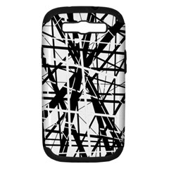 Black and white abstract design Samsung Galaxy S III Hardshell Case (PC+Silicone)