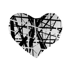 Black and white abstract design Standard 16  Premium Heart Shape Cushions