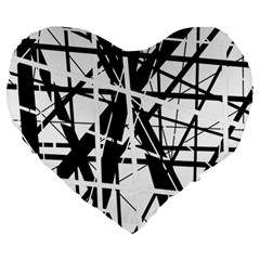 Black and white abstract design Large 19  Premium Heart Shape Cushions