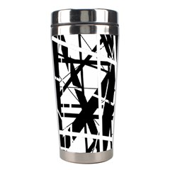Black and white abstract design Stainless Steel Travel Tumblers