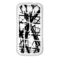Black and white abstract design Samsung Galaxy S3 Back Case (White)