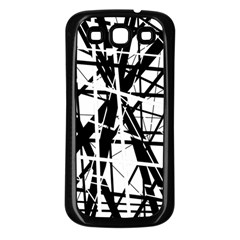 Black and white abstract design Samsung Galaxy S3 Back Case (Black)