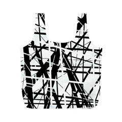 Black and white abstract design Full Print Recycle Bags (M)