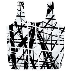 Black and white abstract design Full Print Recycle Bags (L)