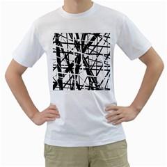 Black and white abstract design Men s T-Shirt (White)
