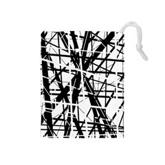 Black and white abstract design Drawstring Pouches (Medium)