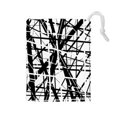 Black and white abstract design Drawstring Pouches (Large)