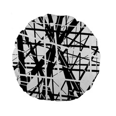 Black and white abstract design Standard 15  Premium Flano Round Cushions