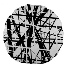 Black and white abstract design Large 18  Premium Flano Round Cushions