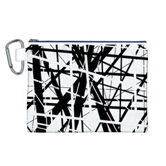 Black and white abstract design Canvas Cosmetic Bag (L)