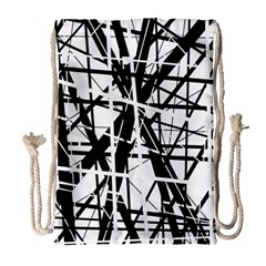 Black and white abstract design Drawstring Bag (Large)