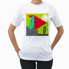 Abstract bird Women s T-Shirt (White) (Two Sided)