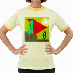 Abstract bird Women s Fitted Ringer T-Shirts