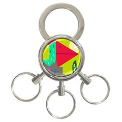 Abstract bird 3-Ring Key Chains