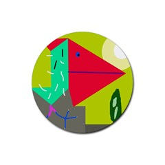 Abstract bird Rubber Round Coaster (4 pack)