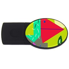 Abstract bird USB Flash Drive Oval (1 GB)