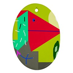 Abstract bird Oval Ornament (Two Sides)