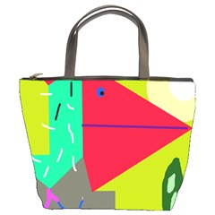 Abstract bird Bucket Bags