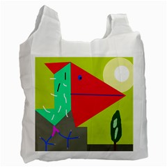 Abstract bird Recycle Bag (One Side)
