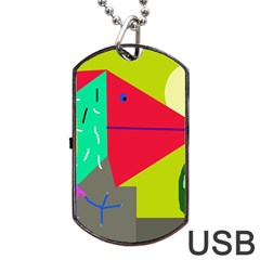 Abstract bird Dog Tag USB Flash (Two Sides)
