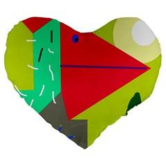 Abstract bird Large 19  Premium Heart Shape Cushions