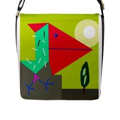 Abstract bird Flap Messenger Bag (L)