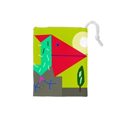 Abstract bird Drawstring Pouches (Small)