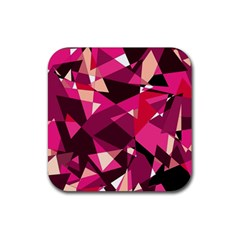 Red broken glass Rubber Square Coaster (4 pack)