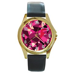 Red broken glass Round Gold Metal Watch