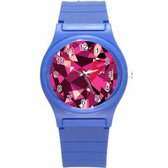 Red broken glass Round Plastic Sport Watch (S)