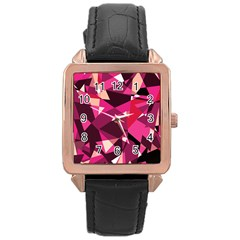 Red broken glass Rose Gold Leather Watch