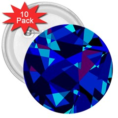 Blue broken glass 3  Buttons (10 pack)
