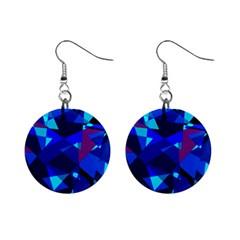 Blue broken glass Mini Button Earrings