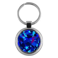 Blue broken glass Key Chains (Round)