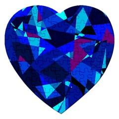 Blue broken glass Jigsaw Puzzle (Heart)