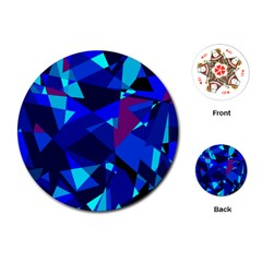 Blue broken glass Playing Cards (Round)