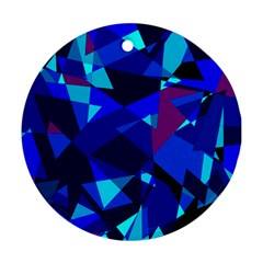 Blue broken glass Round Ornament (Two Sides)