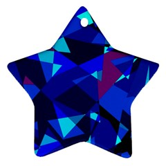 Blue broken glass Star Ornament (Two Sides)