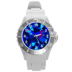Blue broken glass Round Plastic Sport Watch (L)