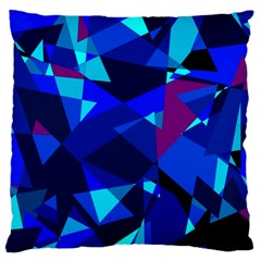 Blue broken glass Large Cushion Case (One Side)