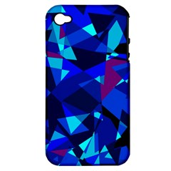 Blue broken glass Apple iPhone 4/4S Hardshell Case (PC+Silicone)