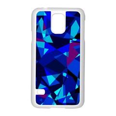 Blue broken glass Samsung Galaxy S5 Case (White)
