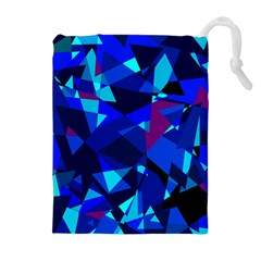 Blue broken glass Drawstring Pouches (Extra Large)
