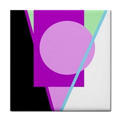 Purple geometric design Tile Coasters