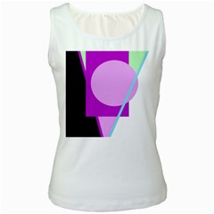 Purple geometric design Women s White Tank Top