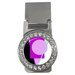 Purple geometric design Money Clips (CZ)