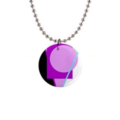 Purple geometric design Button Necklaces