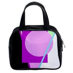 Purple geometric design Classic Handbags (2 Sides)