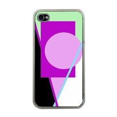 Purple geometric design Apple iPhone 4 Case (Clear)