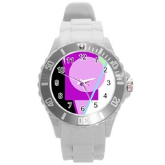 Purple geometric design Round Plastic Sport Watch (L)